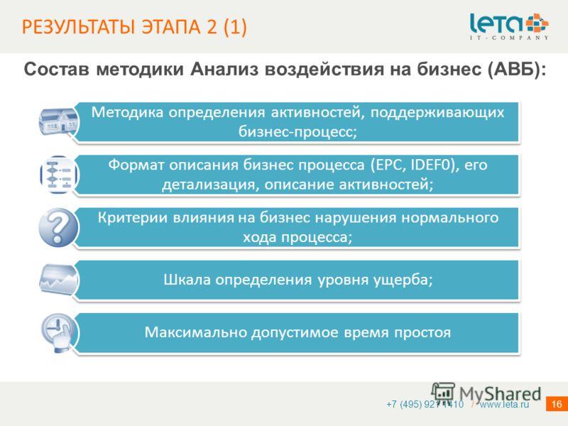 16 РЕЗУЛЬТАТЫ ЭТАПА 2 (1) +7 (495) 921 1410 / www.leta.ru Состав методики Анализ воздействия на бизнес (АВБ): Методика определения активностей, поддерживающих бизнес-процесс; Формат описания бизнес процесса (EPC, IDEF0), его детализация, описание акт