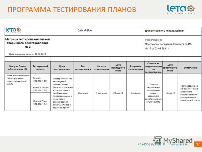 37 ПРОГРАММА ТЕСТИРОВАНИЯ ПЛАНОВ +7 (495) 921 1410 / www.leta.ru
