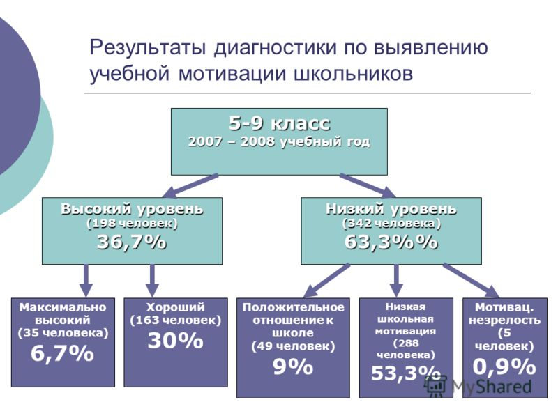 Результаты диагностики по выявлению учебной мотивации школьников 5-9 класс 2007 – 2008 учебный год Высокий уровень (198 человек) 36,7% Низкий уровень (342 человека) 63,3% Максимально высокий (35 человека) 6,7% Хороший (163 человек) 30% Положительное