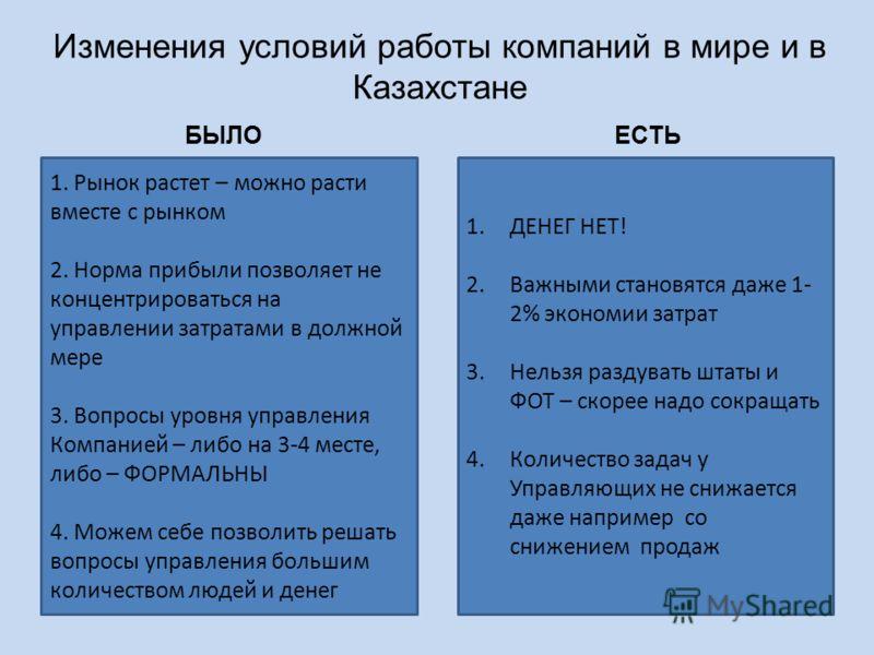 Изменения условий работы компаний в мире и в Казахстане 1. Рынок растет – можно расти вместе с рынком 2. Норма прибыли позволяет не концентрироваться на управлении затратами в должной мере 3. Вопросы уровня управления Компанией – либо на 3-4 месте, л