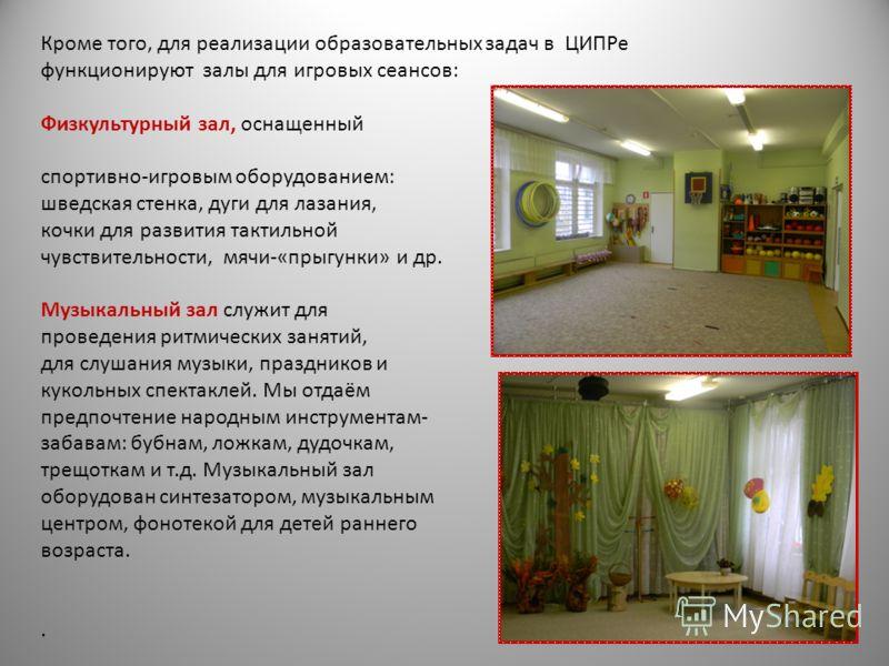 Кроме того, для реализации образовательных задач в ЦИПРе функционируют залы для игровых сеансов: Физкультурный зал, оснащенный спортивно-игровым оборудованием: шведская стенка, дуги для лазания, кочки для развития тактильной чувствительности, мячи-«п