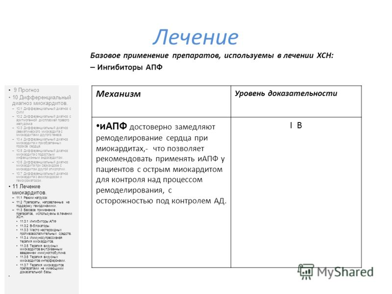 Лечение 9 Прогноз 10 Дифференциальный диагноз миокардитов. –10.1 Дифференциальный диагноз с ОИМ –10.2 Дифференциальный диагноз с аритмогенной дисплазией правого желудочка –10.3 Дифференциальный диагноз ревматического миокардита с миокардитами другого