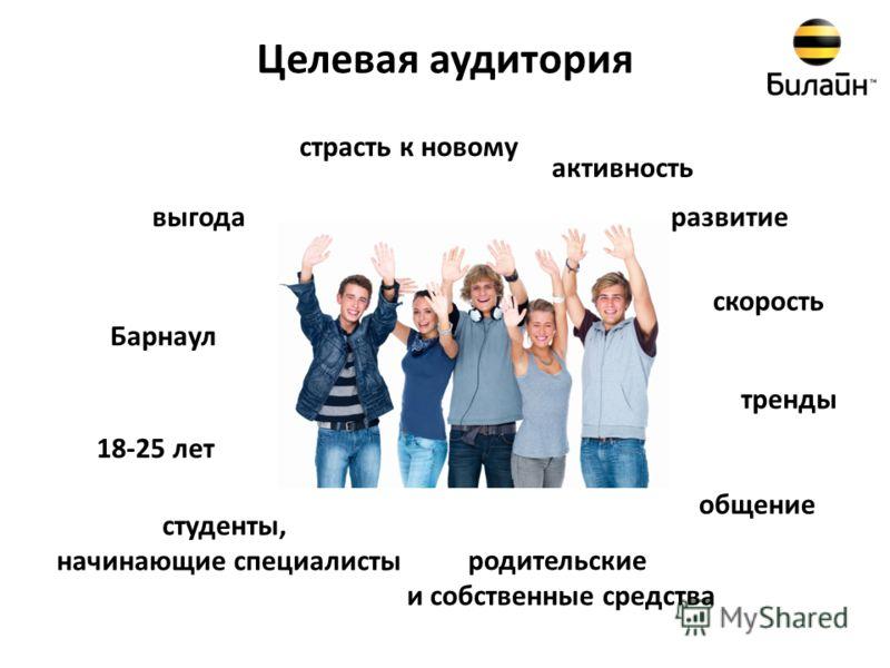Целевая аудитория 18-25 лет Барнаул родительские и собственные средства страсть к новому активность развитие общение тренды скорость выгода студенты, начинающие специалисты
