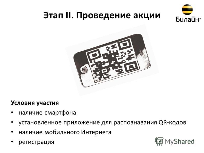 Этап II. Проведение акции Условия участия наличие смартфона установленное приложение для распознавания QR-кодов наличие мобильного Интернета регистрация