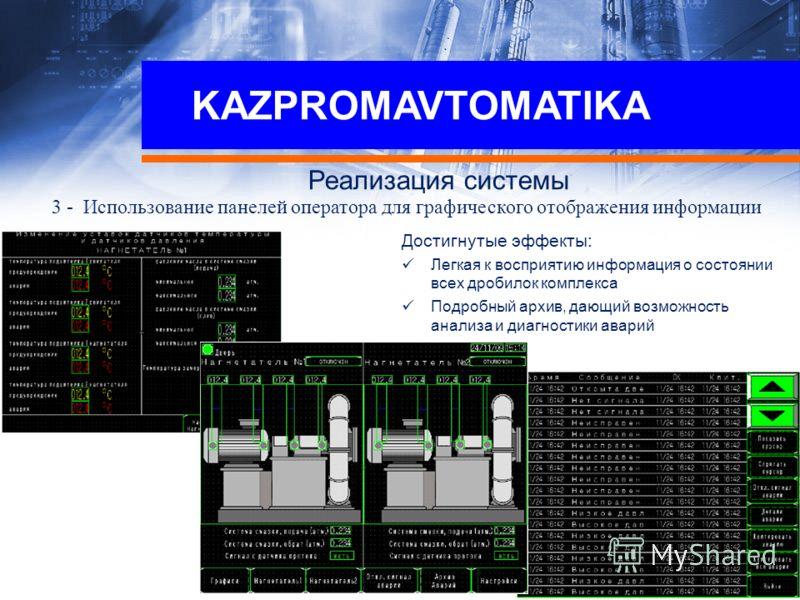 KAZPROMAVTOMATIKA Реализация системы 3 - Использование панелей оператора для графического отображения информации Достигнутые эффекты: Легкая к восприятию информация о состоянии всех дробилок комплекса Подробный архив, дающий возможность анализа и диа