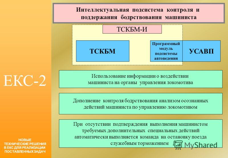 ЕКС-2 НОВЫЕ ТЕХНИЧЕСКИЕ РЕШЕНИЯ В ЕКС ДЛЯ РЕАЛИЗАЦИИ ПОСТАВЛЕННЫХ ЗАДАЧ Интеллектуальная подсистема контроля и поддержания бодрствования машиниста ТСКБМ Программный модуль подсистемы автоведения УСАВП ТСКБМ-И Использование информации о воздействии ма