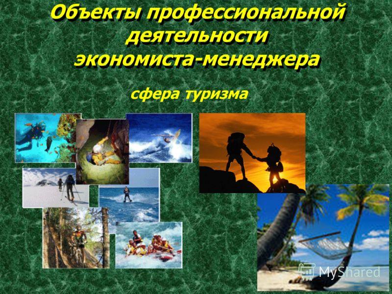 Объекты профессиональной деятельности экономиста-менеджера Объекты профессиональной деятельности экономиста-менеджера сфера туризма