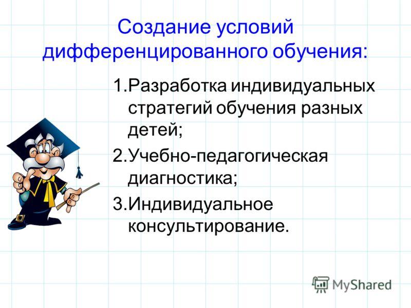Создание условий дифференцированного обучения: 1.Разработка индивидуальных стратегий обучения разных детей; 2.Учебно-педагогическая диагностика; 3.Индивидуальное консультирование.