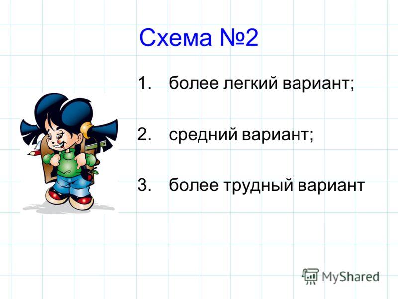 Схема 2 1. более легкий вариант; 2. средний вариант; 3. более трудный вариант
