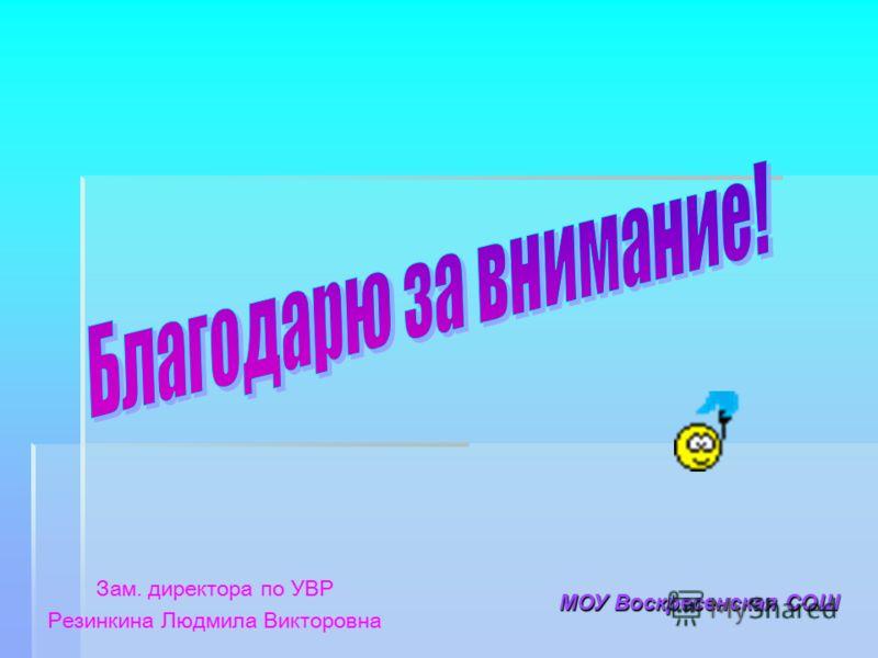 Зам. директора по УВР Резинкина Людмила Викторовна МОУ Воскресенская СОШ