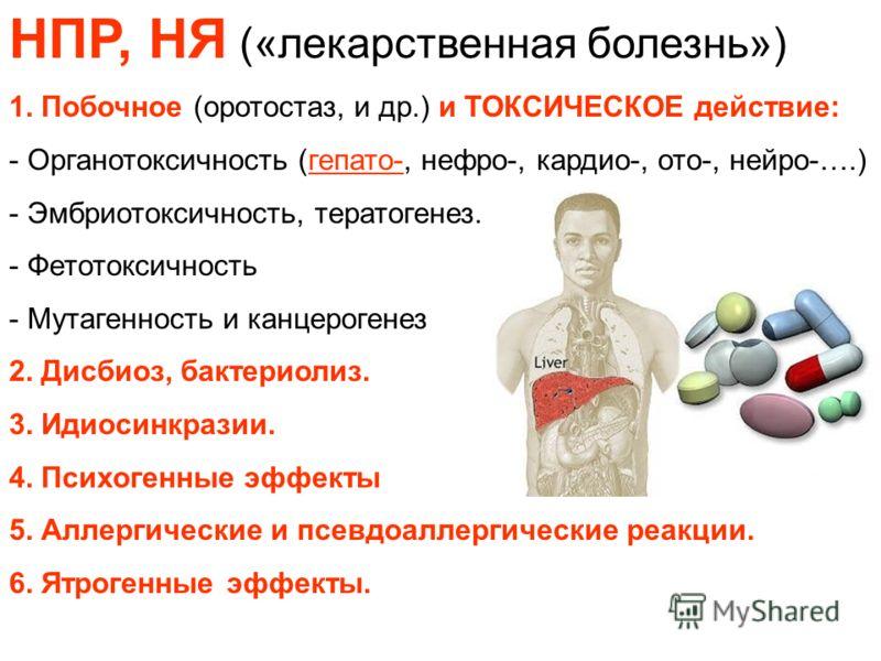 НПР, НЯ («лекарственная болезнь») 1. Побочное (оротостаз, и др.) и ТОКСИЧЕСКОЕ действие: - Органотоксичность (гепато-, нефро-, кардио-, ото-, нейро-….) - Эмбриотоксичность, тератогенез. - Фетотоксичность - Мутагенность и канцерогенез 2. Дисбиоз, бакт