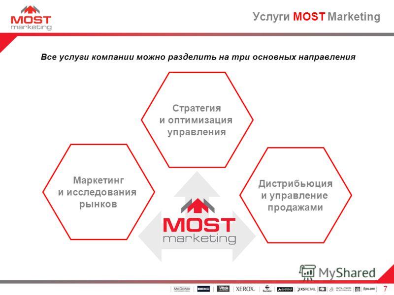 7 Услуги MOST Marketing Все услуги компании можно разделить на три основных направления Стратегия и оптимизация управления Маркетинг и исследования рынков Дистрибьюция и управление продажами