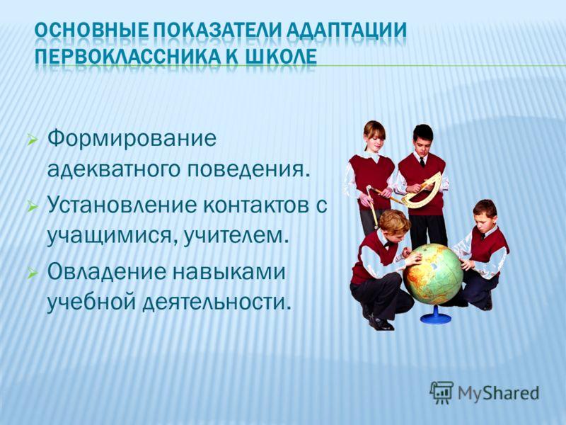 Формирование адекватного поведения. Установление контактов с учащимися, учителем. Овладение навыками учебной деятельности.
