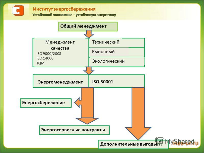 Общий менеджмент Менеджмент качества ISO 9000/2008 ISO 14000 TQM Технический Рыночный Экологический Энергоменеджмент ISO 50001 Энергосбережение Энергосервисные контракты Дополнительные выгоды