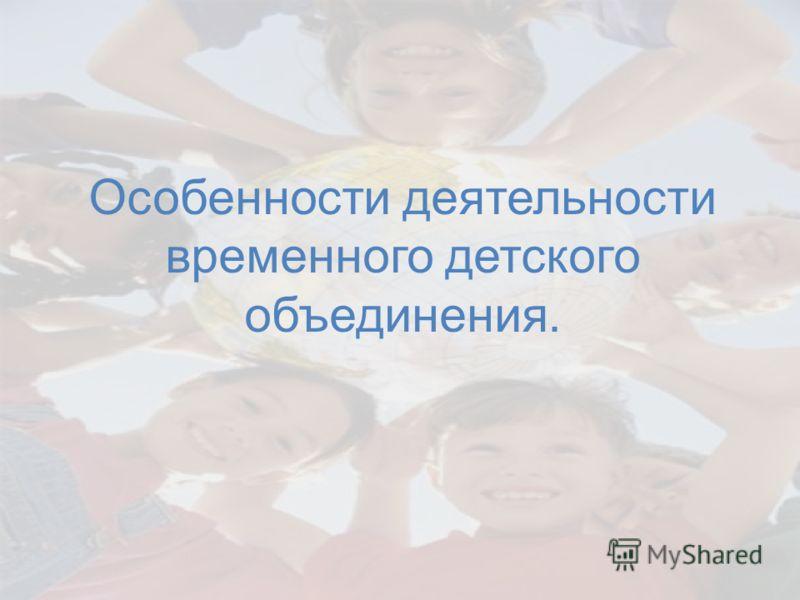 Особенности деятельности временного детского объединения.