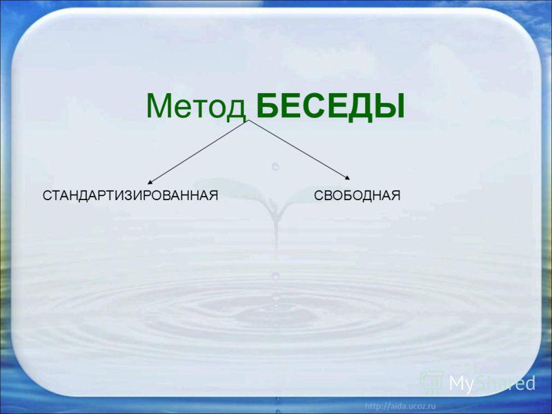 Метод БЕСЕДЫ СТАНДАРТИЗИРОВАННАЯСВОБОДНАЯ