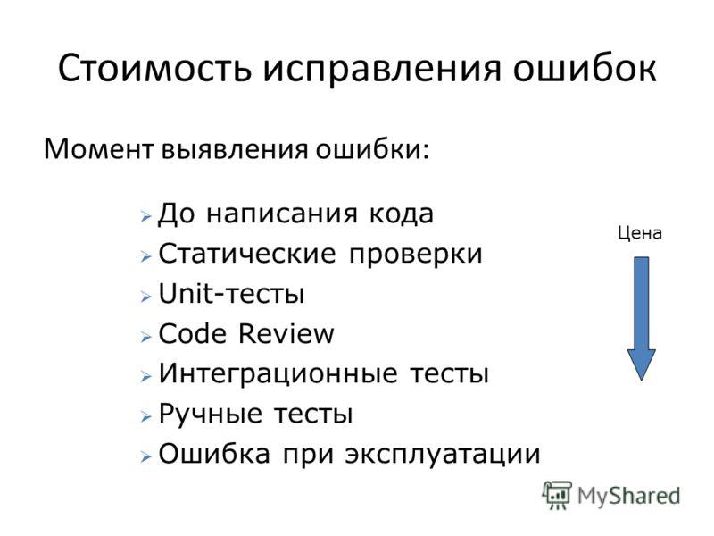 Стоимость исправления ошибок Момент выявления ошибки: До написания кода Статические проверки Unit-тесты Code Review Интеграционные тесты Ручные тесты Ошибка при эксплуатации Цена