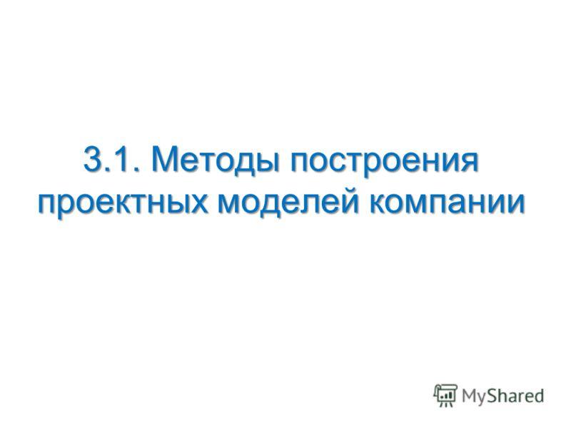 3.1. Методы построения проектных моделей компании