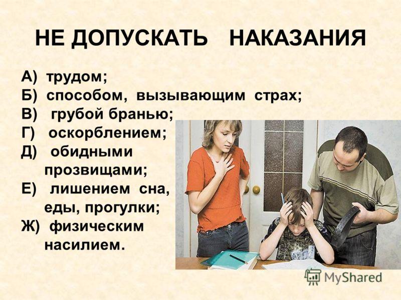 НЕ ДОПУСКАТЬ НАКАЗАНИЯ А) трудом; Б) способом, вызывающим страх; В) грубой бранью; Г) оскорблением; Д) обидными прозвищами; Е) лишением сна, еды, прогулки; Ж) физическим насилием.