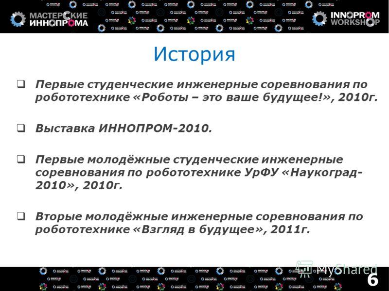 История Первые студенческие инженерные соревнования по робототехнике «Роботы – это ваше будущее!», 2010г. Выставка ИННОПРОМ-2010. Первые молодёжные студенческие инженерные соревнования по робототехнике УрФУ «Наукоград- 2010», 2010г. Вторые молодёжные
