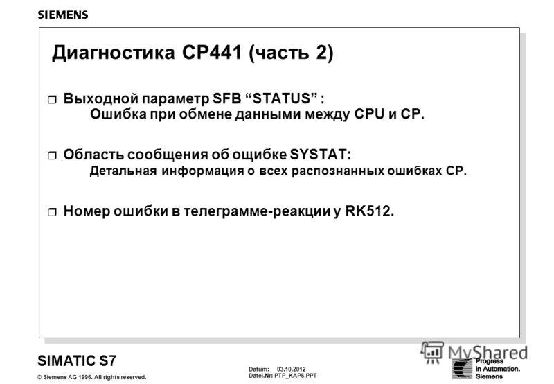 Datum: 30.08.2012 Datei.Nr: PTP_KAP6.PPT SIMATIC S7 © Siemens AG 1996. All rights reserved. Диагностика CP441 (часть 2) Выходной параметр SFB STATUS : Ошибка при обмене данными между CPU и CP. Область сообщения об ощибке SYSTAT: Детальная информация