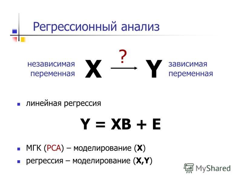 Регрессионный анализ XY ? зависимая переменная независимая переменная линейная регрессия Y = XB + E МГК (PCA) – моделирование (X) регрессия – моделирование (X,Y)