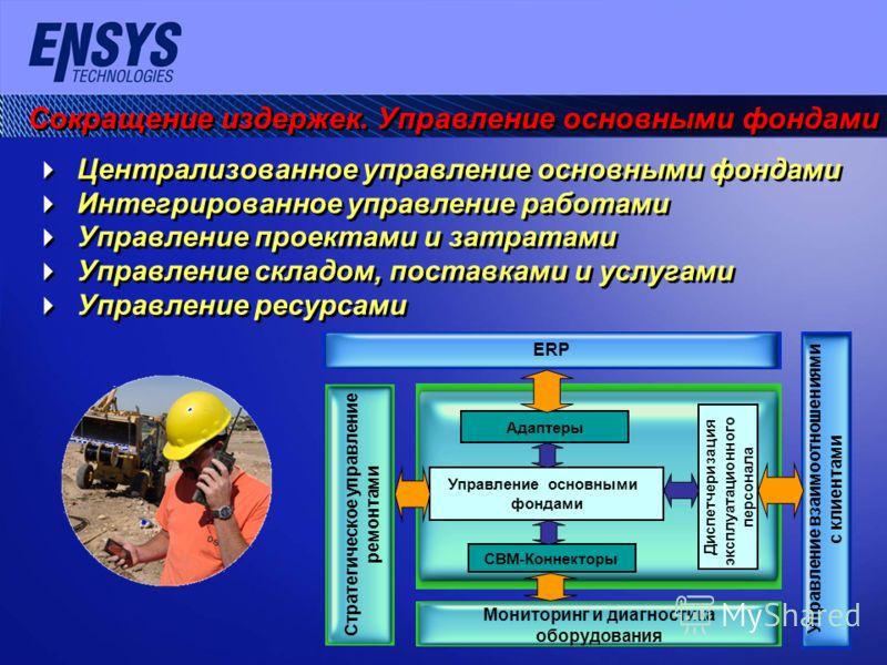 Сокращение издержек. Управление основными фондами Централизованное управление основными фондами Интегрированное управление работами Управление проектами и затратами Управление складом, поставками и услугами Управление ресурсами Централизованное управ