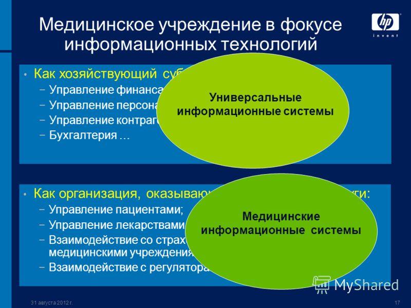 31 августа 2012 г.17 Медицинское учреждение в фокусе информационных технологий Как хозяйствующий субъект: Управление финансами; Управление персоналом; Управление контрагентами; Бухгалтерия … Как организация, оказывающая медицинские услуги: Управление