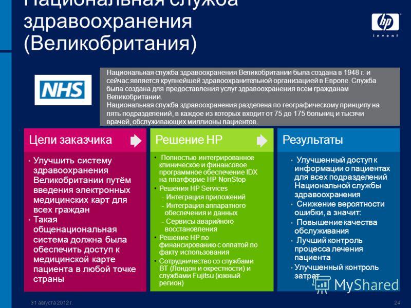 31 августа 2012 г.24 Национальная служба здравоохранения (Великобритания) Улучшить систему здравоохранения Великобритании путём введения электронных медицинских карт для всех граждан Такая общенациональная система должна была обеспечить доступ к меди