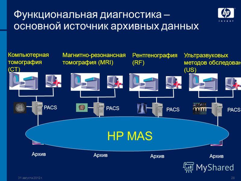 31 августа 2012 г.28 Функциональная диагностика – основной источник архивных данных Компьютерная томография (CT) PACS Магнитно-резонансная томография (MRI) Рентгенография (RF) Ультразвуковых методов обследования (US) Архив PACS HP MAS