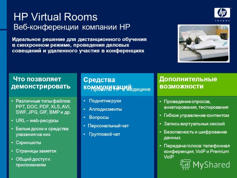 31 августа 2012 г.40 HP Virtual Rooms Веб-конференции компании HP Идеальное решение для дистанционного обучения в синхронном режиме, проведения деловых совещаний и удаленного участия в конференциях Различные типы файлов: PPT, DOC, PDF, XLS, AVI, SWF,