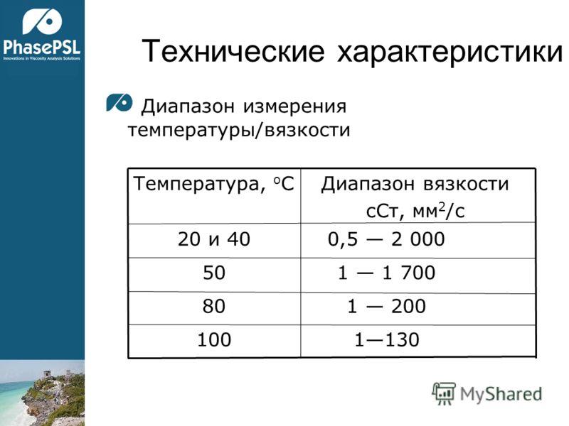 Технические характеристики Диапазон измерения температуры/вязкости 1130100 1 20080 1 1 70050 0,5 2 00020 и 40 Диапазон вязкости сСт, мм 2 /с Температура, o C