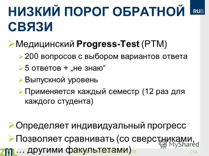 НИЗКИЙ ПОРОГ ОБРАТНОЙ СВЯЗИ Медицинский Progress-Test (PTM) 200 вопросов с выбором вариантов ответа 5 ответов + не знаю Выпускной уровень Применяется каждый семестр (12 раз для каждого студента) Определяет индивидуальный прогресс Позволяет сравнивать