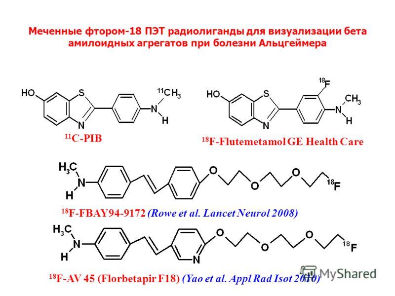 Меченные фтором-18 ПЭТ радиолиганды для визуализации бета амилоидных aгрегaтoв при болезни Альцгеймера 11 С-PIB 18 F-Flutemetamol GE Health Care 18 F-FBAY94-9172 (Rowe et al. Lancet Neurol 2008) 18 F-AV 45 (Florbetapir F18) (Yao et al. Appl Rad Isot