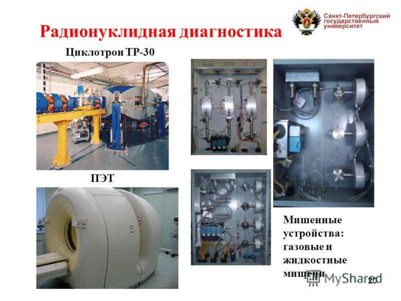 20 Циклотрон ТР-30 Мишенные устройства: газовые и жидкостные мишени ПЭТ Радионуклидная диагностика