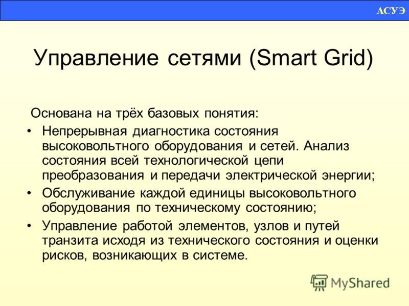 Управление сетями (Smart Grid) Основана на трёх базовых понятия: Непрерывная диагностика состояния высоковольтного оборудования и сетей. Анализ состояния всей технологической цепи преобразования и передачи электрической энергии; Обслуживание каждой е