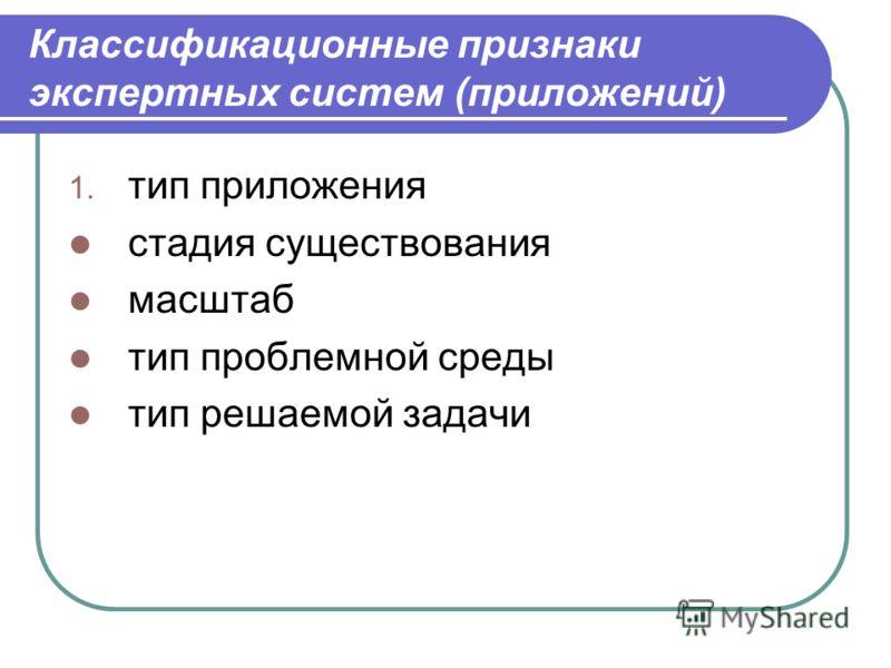Классификационные признаки экспертных систем (приложений) 1. тип приложения стадия существования масштаб тип проблемной среды тип решаемой задачи