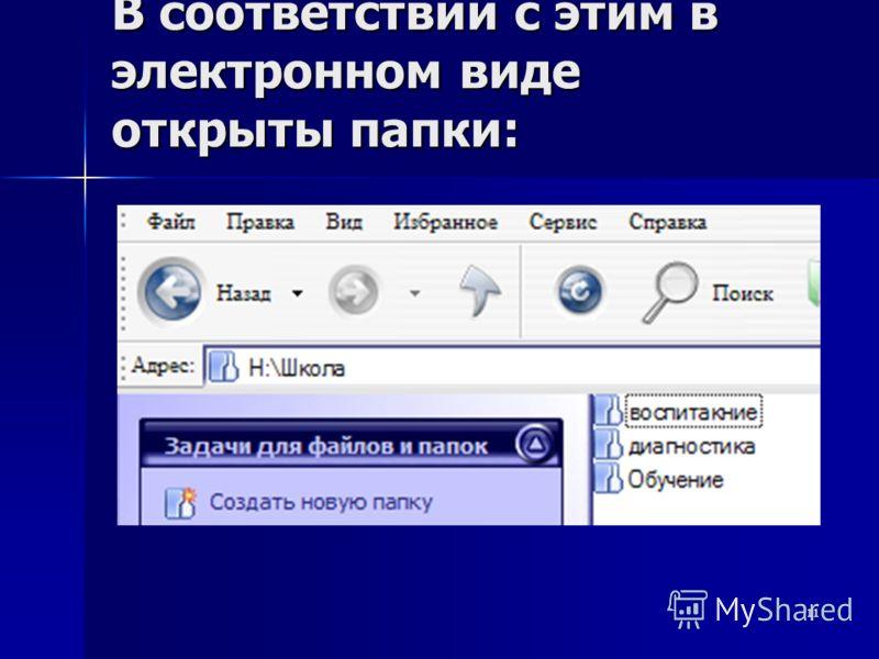 11 В соответствии с этим в электронном виде открыты папки: