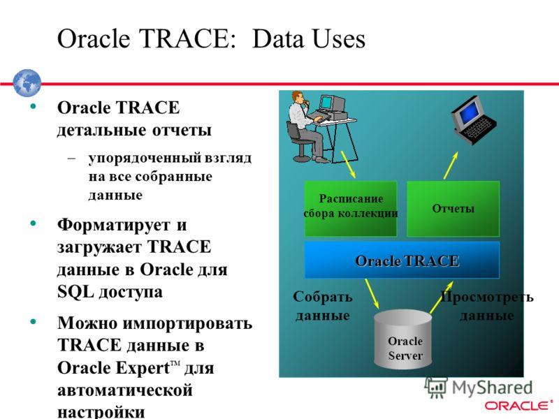 ® Oracle TRACE: Data Uses Oracle TRACE детальные отчеты –упорядоченный взгляд на все собранные данные Форматирует и загружает TRACE данные в Oracle для SQL доступа Можно импортировать TRACE данные в Oracle Expert TM для автоматической настройки Oracl