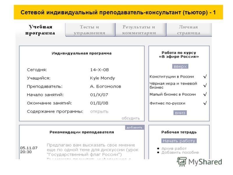 Сетевой индивидуальный преподаватель-консультант (тьютор) - 1