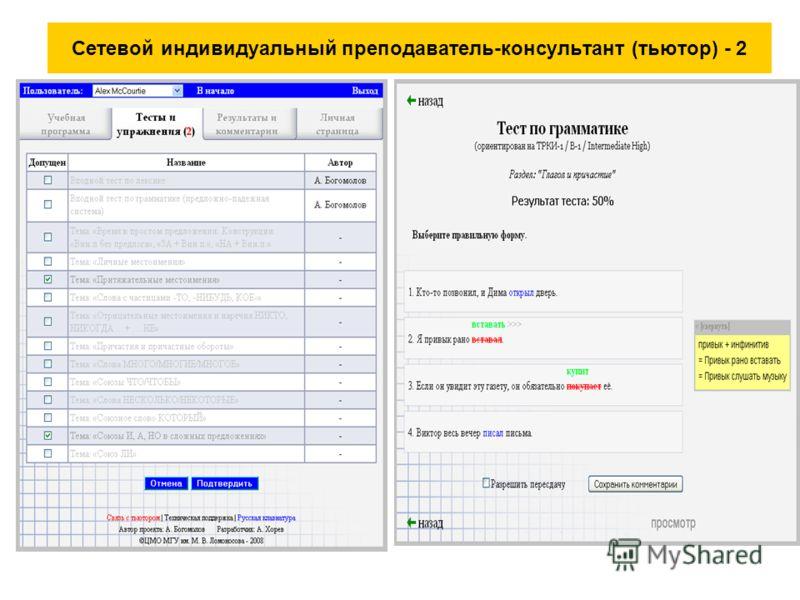 Сетевой индивидуальный преподаватель-консультант (тьютор) - 2