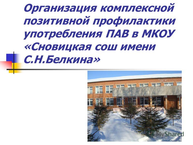 Организация комплексной позитивной профилактики употребления ПАВ в МКОУ «Сновицкая сош имени С.Н.Белкина»