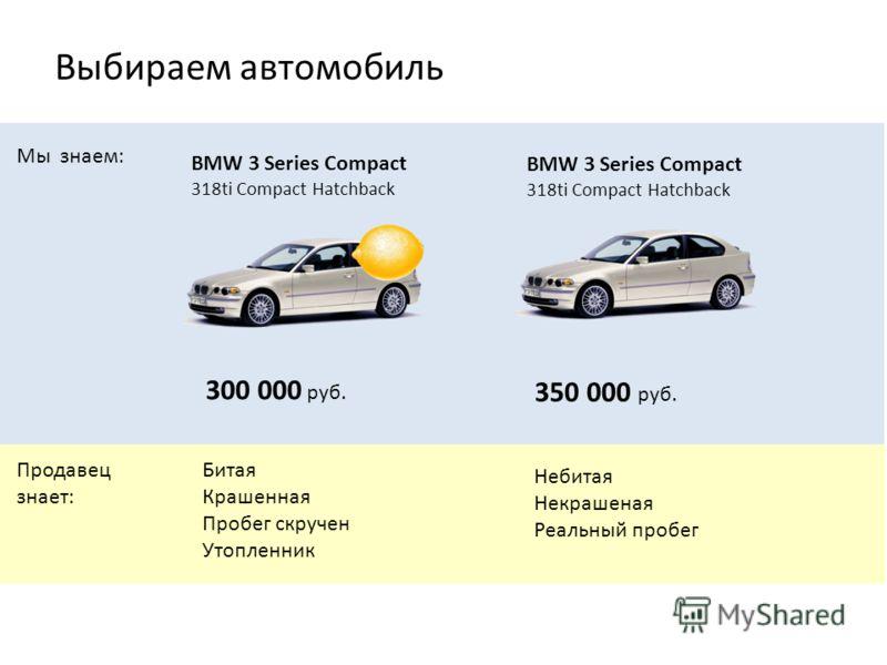 BMW 3 Series Compact 318ti Compact Hatchback Битая Крашенная Пробег скручен Утопленник Небитая Некрашеная Реальный пробег 300 000 руб. 350 000 руб. Мы знаем: Продавец знает: Выбираем автомобиль