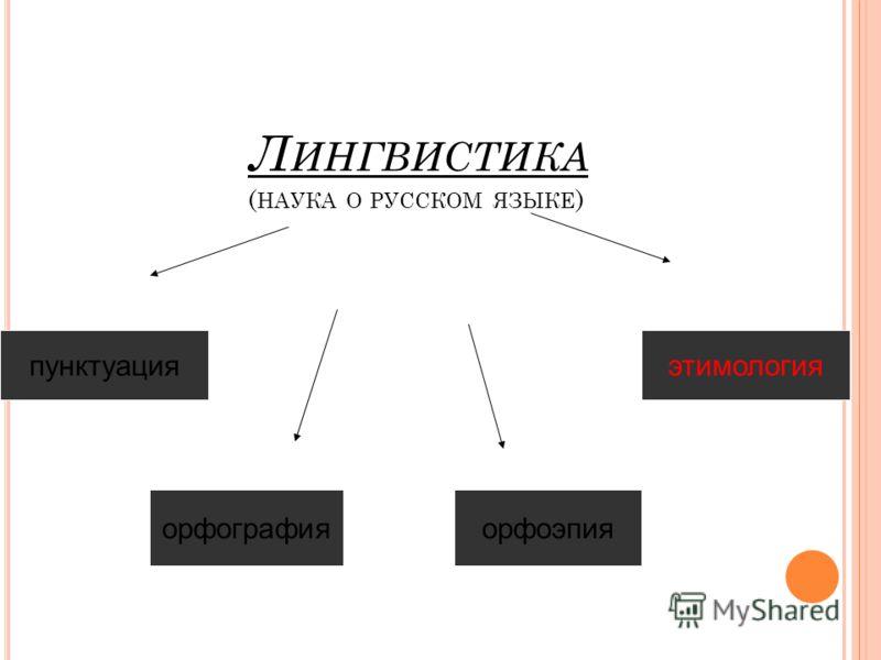 Л ИНГВИСТИКА ( НАУКА О РУССКОМ ЯЗЫКЕ ) пунктуация орфографияорфоэпия этимология
