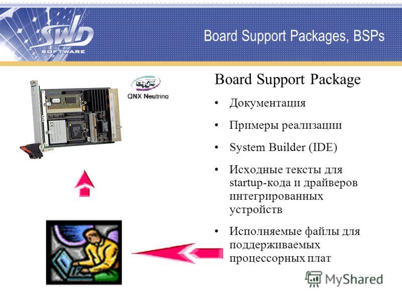 Board Support Packages, BSPs Board Support Package Документация Примеры реализации System Builder (IDE) Исходные тексты для startup-кода и драйверов интегрированных устройств Исполняемые файлы для поддерживаемых процессорных плат