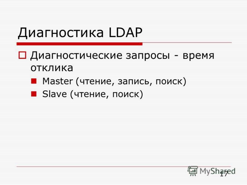 Диагностика LDAP Диагностические запросы - время отклика Master (чтение, запись, поиск) Slave (чтение, поиск) 17