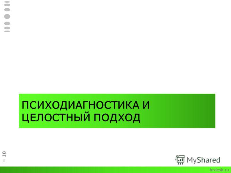 ПСИХОДИАГНОСТИКА И ЦЕЛОСТНЫЙ ПОДХОД = 18 hrdesk.ru