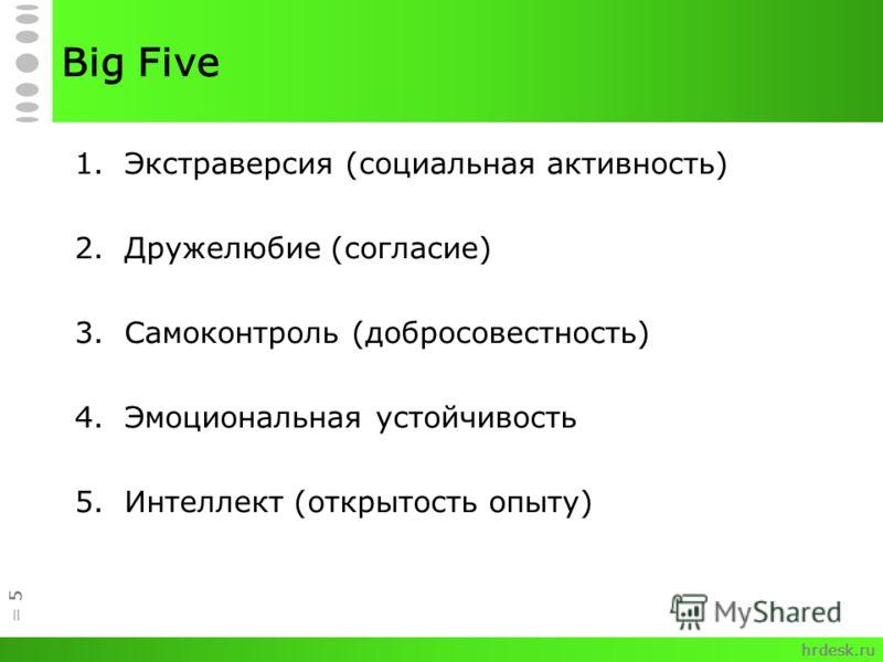 Big Five 1.Экстраверсия (социальная активность) 2.Дружелюбие (согласие) 3.Самоконтроль (добросовестность) 4.Эмоциональная устойчивость 5.Интеллект (открытость опыту) = 5 hrdesk.ru