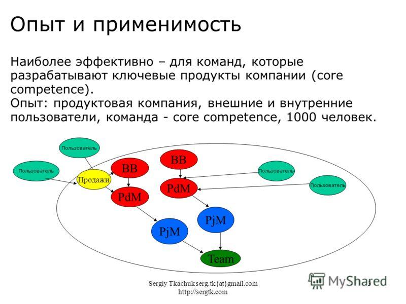Sergiy Tkachuk serg.tk{at}gmail.com http://sergtk.com 3 Опыт и применимость Наиболее эффективно – для команд, которые разрабатывают ключевые продукты компании (core competence). Опыт: продуктовая компания, внешние и внутренние пользователи, команда -