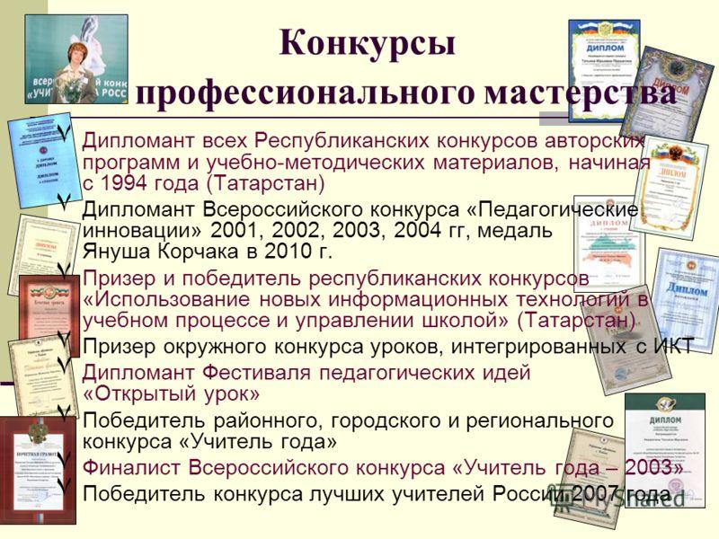 Конкурсы профессионального мастерства ٧Д٧Дипломант всех Республиканских конкурсов авторских программ и учебно-методических материалов, начиная с 1994 года (Татарстан) ٧Д٧Дипломант Всероссийского конкурса «Педагогические инновации» 2001, 2002, 2003, 2